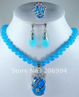 blue jade earrings - new arrive fashion jewelry sets semi precious stones jade necklaces earrings ring set