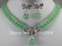 Wholesale factory price Women s semi precious stones jade Necklace earring set