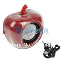 Wholesale Apple Style Shining LED Mini Sound Box Speaker for Cellphone PSP Tablet Computer Red