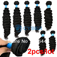 Wholesale 2pcs Women s Girls Indian Deep Wave Curly Remy Virgin Human Hair Extensions Size