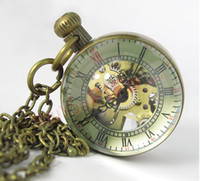 Antique ball mens watch - 5PCS Unisex Automatic Vine Style Bronze Crystal Ball Pocket Watch Mens Mechanical Pocket Watches