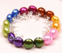 Gift wholesale akoya pearls - new arrive factory price Set Color Akoya Cultured Pearl Earring AAA Grade pc fashion jewelry