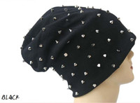 beach decorating - Black Studded Beanie Hats Spike Studs Beanies Rivet decorated Beanies Men Winter Benaies Unisex Warm Skull Caps Many Colors On sale