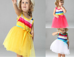 Wholesale 4set Summer Girl s Rainbow Dresses Baby Dress Children Skirts girl Bow Wide Stripe Tutu skirt