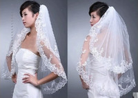 Wholesale Stock Layers White Veil - Hot Sale In Stock Elegant White Wedding Bridal Veil 2T for Wedding Dress Embroidery Edge New