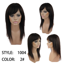 Wholesale indian hair human hair wig long straight wig darkest brown human wig