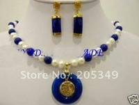 Wholesale Fashion jewelry Set White Freshwater Pearl Blue Jade Necklace Earring