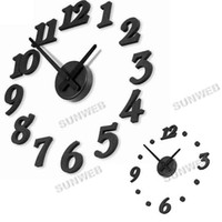 Wholesale Stylish Simple DIY D Wall Clock DIY clock Funny Clock Black