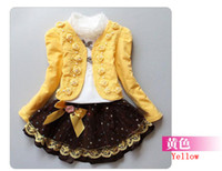 Wholesale 2013 Baby Girl Piece Suits T shirt Coat Skirt Children Lace Princess Tutu Dress Sets DHL Shipping