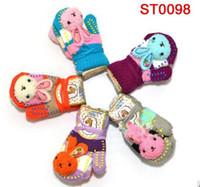 Wholesale 2016 lovely new cartoon rabbit baby girl winter cartoon keep warm gloves children kid mittens pair edison168