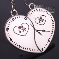 Alloy Cartoon Men The 520 clock watch lover couple key chain keychain ring Lovers Valentine's Day gifts