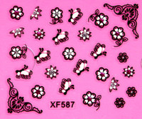 allure designs - 6 designs carved Colorful bow nail art rhinestone makeup Allure nail art sticker pc XF587