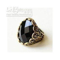 Cluster Rings Women's Zhejiang China (Mainland) Retro Carved Patterns Rhinestone Black Stone Rings Ring Free Shipping 24 Pcs lot