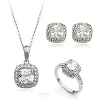 Wholesale 18K Gold Platinum Plated Diamond Crystal Necklaces Rings Earrings Wedding Fashion Jewelry Sets AS003