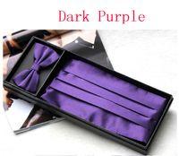Solid color  men's ties - purple Men s dress Cummerbund Elegant Bow girdle bow tie pocket towel Gift Set Decoration