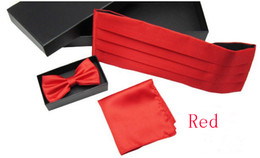 Wholesale Retail red wedding cummerbund party cummerbund bow tie hanky colors