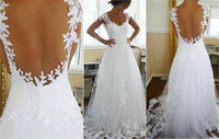 Wholesale 2013 Fall Vintage Off Shoulder Sweetheart Lace Applique Wedding Dresses A Line Bridal Gown Backless