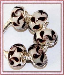 Wholesale STERLING SILVER FloralWhite Black Pattern Murano GLASS LAMPWORK BEADS FOR PANDORA BRACELET