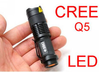 Wholesale 7W LM Mini CREE Q5 LED Flashlight Torch Adjustable Focus Zoom Light Black