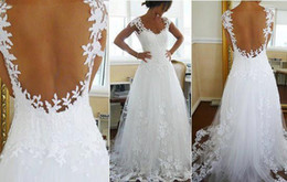 Wholesale Nicest Wedding Dress Ever A line V Neck Sheer Panel Back Court Train Bridal Gowns