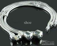 Wholesale 5pcs cm mm Snake chain silver plated mixed size bracelets