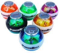 Wholesale New PowerBall Gyroscope LED Wrist Strengthener Ball SPEED METER Power Grip Ball Power Ball Freeship