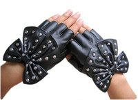 Wholesale Lady gaga ultralarge bow faux fingerless semi finger gloves rivets PU mitring punk glo