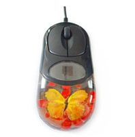 Wholesale Hot Selling Computer Real Insect Wired Liquid Amber Mouse with Led Light