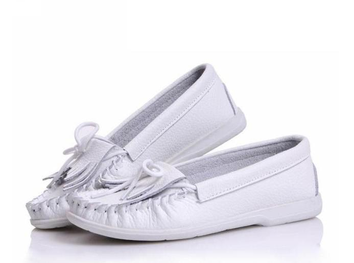 Fashion leisure flat shoes leather tassel shoe leather white shoes