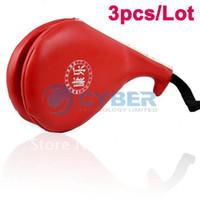 Wholesale 3pcs PU Leather Taekwondo Karate Kwon Kickboxing Kick Double Face Object Practice Target Pad Red