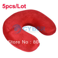 Wholesale 5pcs New Red Memory Foam Neck Support U Shaped Pillow Rest Car Comfort Travel Pillows Free Shipp