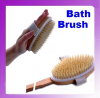 Wholesale New Long Handle Natural Wood Bath Body Brush Brushes Back Spa