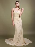 Real Photos Floor-Length Chiffon Wow!!!New Elegant Ruffle Appliques Chiffon Sheath Strapless Backless Party Dresses Prom Dress RL532