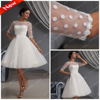 Wholesale 2013 Elegant Dotted Tulle Lace Hem Short Knee Length Wedding Dresses Ball Gown Beach Long Sleeves