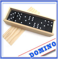 Wholesale 28 Piece set Dominoes Game Play Set In Wooden Box Fun Board Game Party Toy Travel