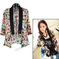 Women Dress Suit Cotton 2013 Women's Medium Half Sleeves Flower Printing Casual Tailored Suit Blazers coat Black, White Fre