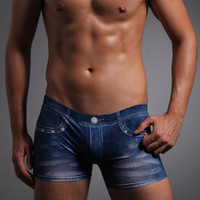 panties - Fashion Faux denim silky milk silk casual panties male boxer panties male panties