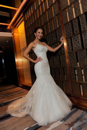 Wholesale 2013 Fall Strapless Sweetheart Lace Applique Wedding Dresses Mermaid Bridal Gown Swarovski Crystal