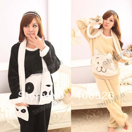 Wholesale 2013 Women s sleepwear coral velvet pajamas cartoon long sleeve two sets of pajamas Bl
