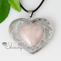 Wholesale heart love valentine s day openwork semi precious stone rose quartz necklaces pendants jewelry gemstone silver jewelry Spsp5001