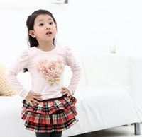 Wholesale children autumn cute Yarn flower Pattern Star long sleeved t shirt kid T shirt girls long sleeved