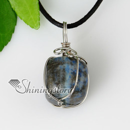 2013 new arrive semi precious stone lapis lazuli stone pendants leather necklaces jewelry semi precious stone jewellery Spsp50023