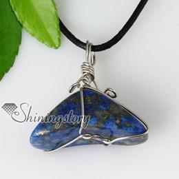 2013 new arrive triangle semi precious stone lapis lazuli pendants leather necklaces jewelry semi precious stone jewellery Spsp50027