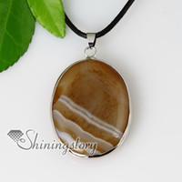 oval semi preciosas piedra de ágata pendientes de cuero, collares de la joyería Spsp50029 baratos de china joyería de moda
