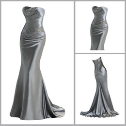 Wholesale Elegent Sliver Sexy Strapless Floor length A line Mother Of Bride Grom Dresses YS001