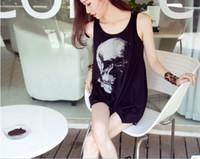 Wholesale 2 piece Skull Punk Singlet Dress Vintage Tank Pop Sexy Top long Tee T Shirt fghhg