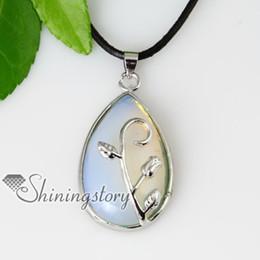 teardrop leaf semi precious stone glass opal jade amethyst tiger's-eye necklaces pendants Spsp50063 birth stone jewellery