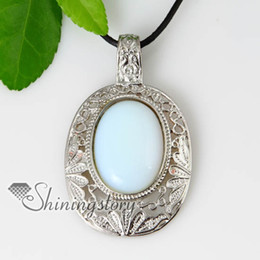 oval openwork semi precious stone rose quartz glass opal necklaces pendants silver gemstone jewelry Spsp70070