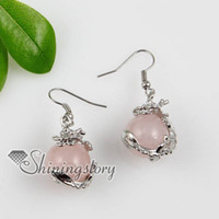 Wholesale round dragon semi precious stone rose quartz jade tiger s eye dangle earrings