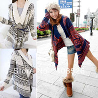 Wholesale Fashion Women Lady Loose Long Sleeve Knit Sweater Top Cardigan Shawl Cape Blue Beige